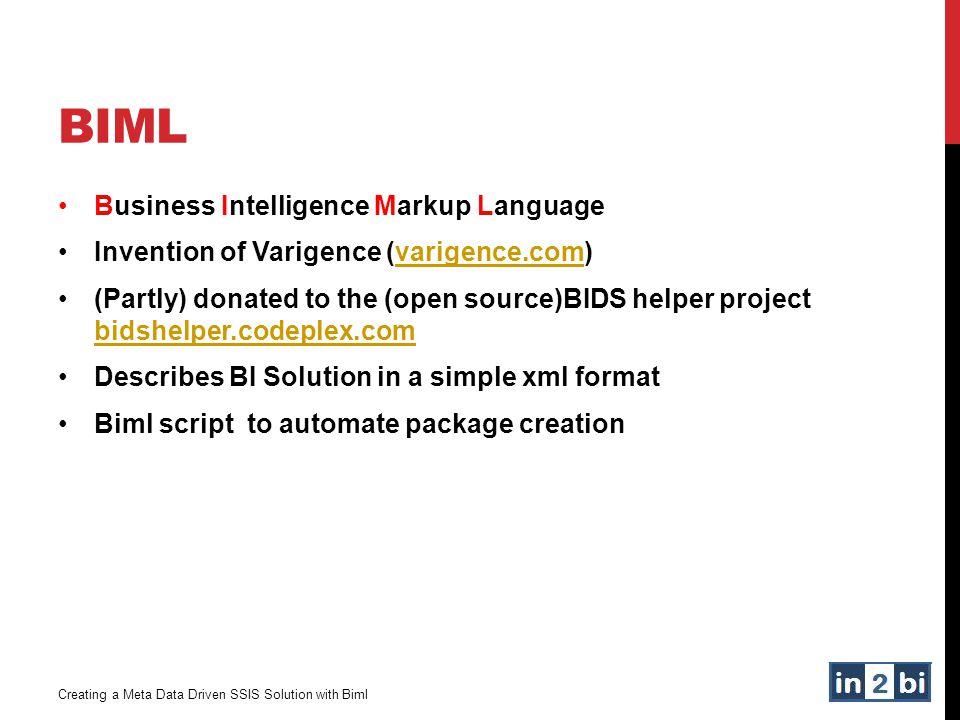 BIML Business Intelligence Markup Language Invention of Varigence (varigence.com)varigence.com (Partly) donated to the (open source)BIDS helper projec