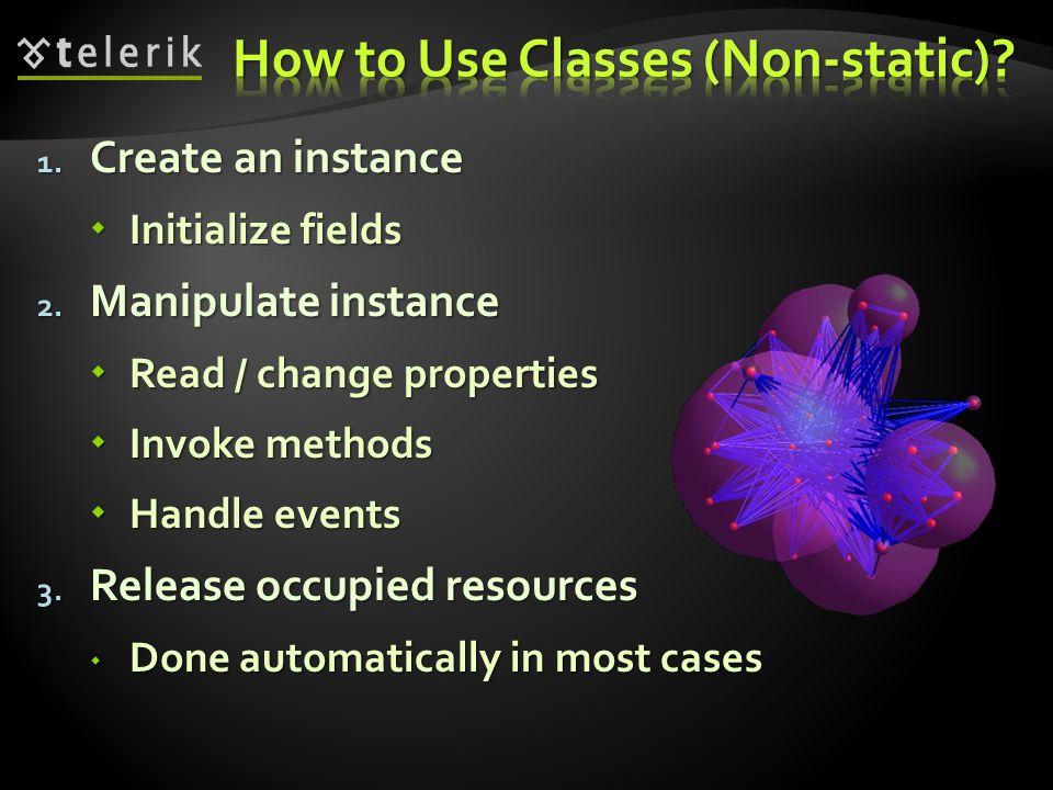 1. Create an instance Initialize fields Initialize fields 2.