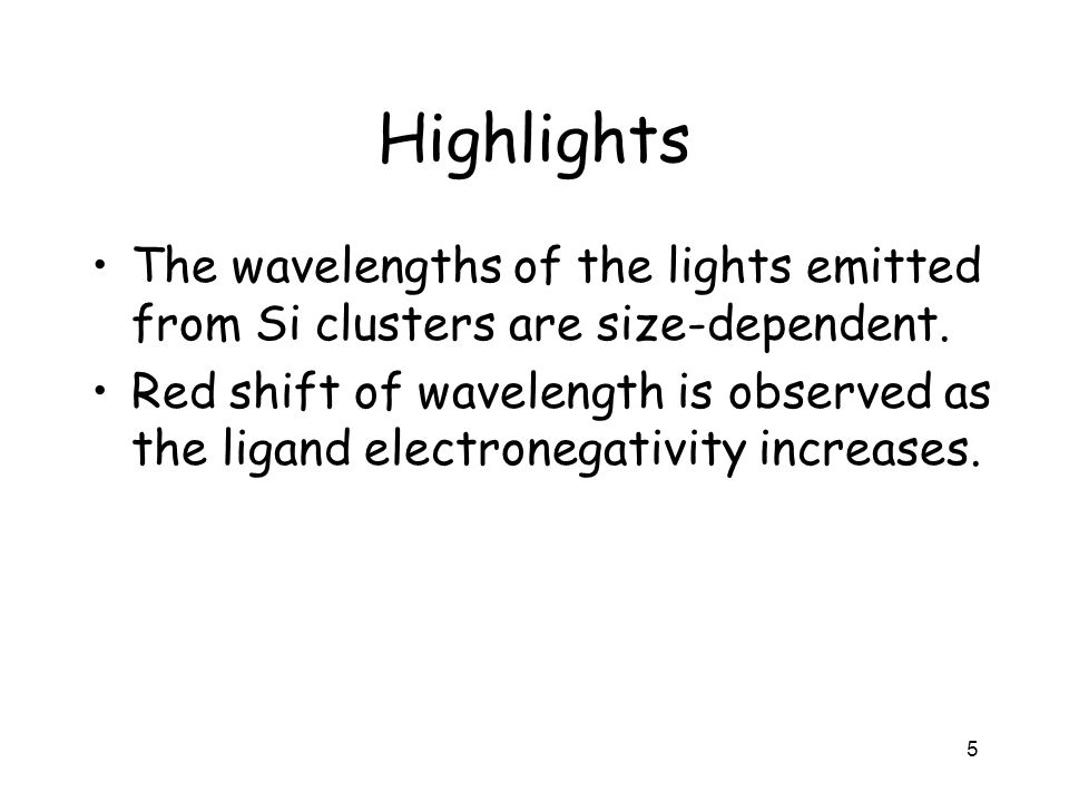 Highlights The wavelengths of the lights emitted from Si clusters are size-dependent.