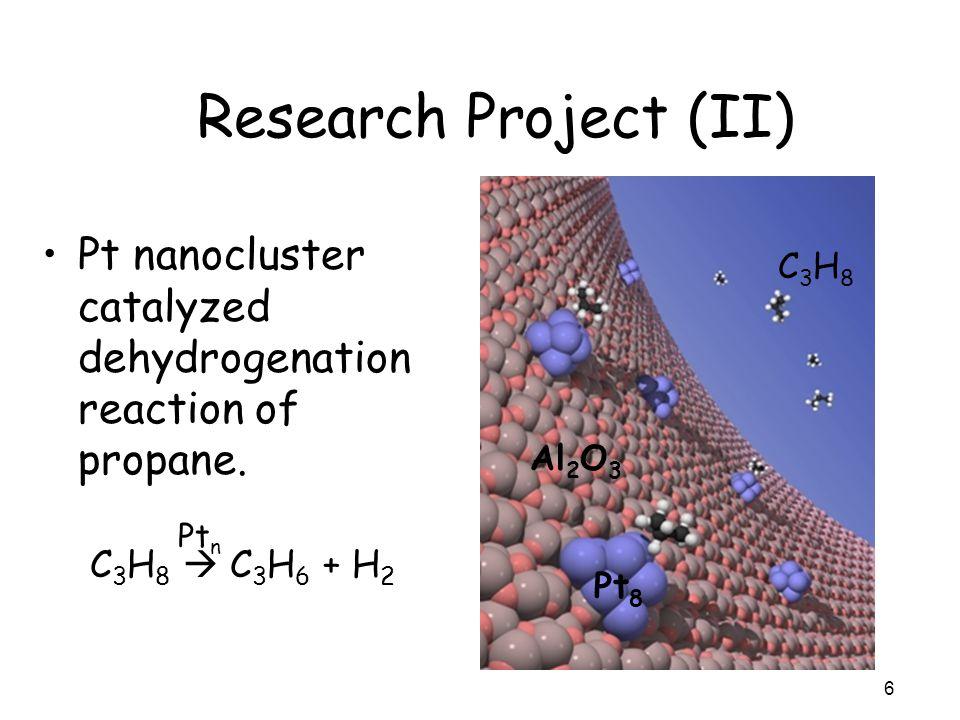 Research Project (II) Pt nanocluster catalyzed dehydrogenation reaction of propane. 6 C 3 H 8 C 3 H 6 + H 2 Pt n Pt 8 C3H8C3H8 Al 2 O 3