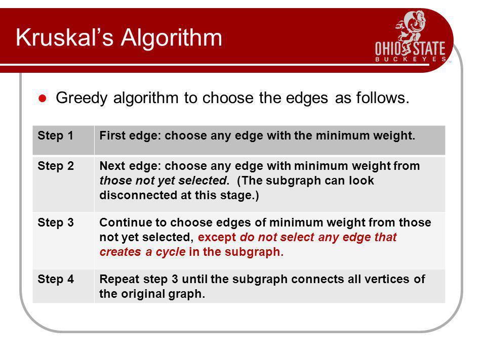 Kruskals Algorithm Greedy algorithm to choose the edges as follows.