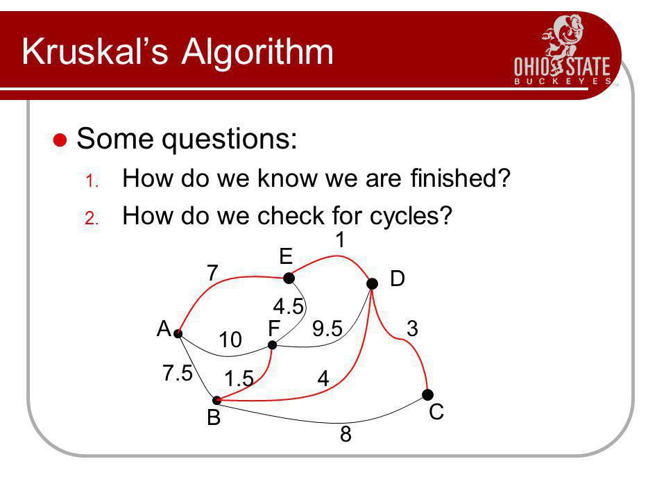 Kruskals Algorithm Some questions: 1. How do we know we are finished? 2. How do we check for cycles? A C B D E F 1 7 10 7.5 8 3 4 9.5 4.5 1.5