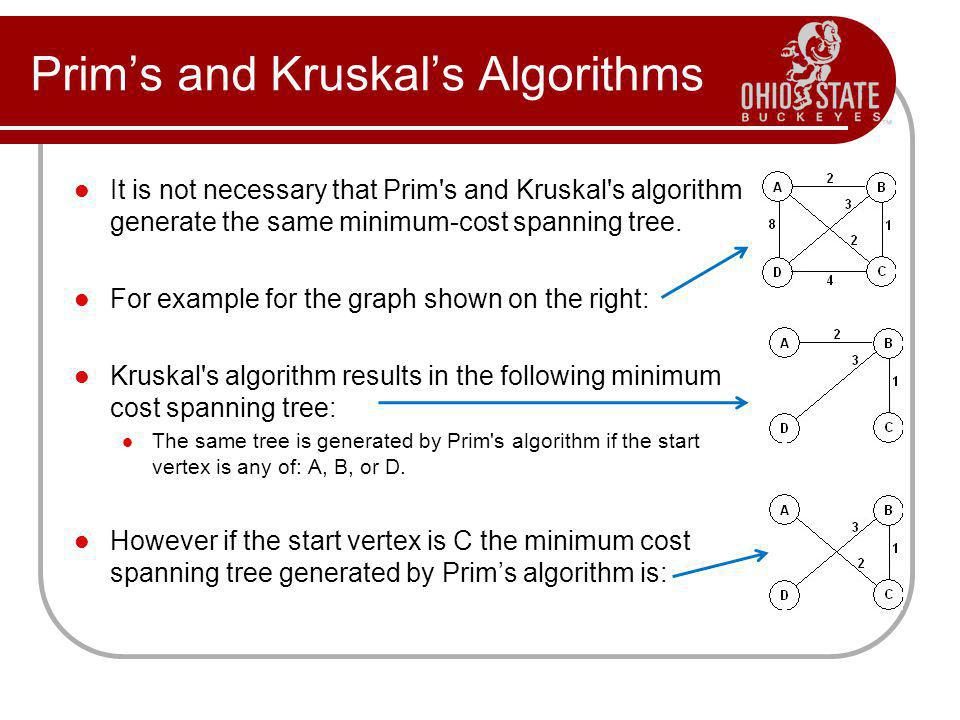 Prims and Kruskals Algorithms It is not necessary that Prim's and Kruskal's algorithm generate the same minimum-cost spanning tree. For example for th