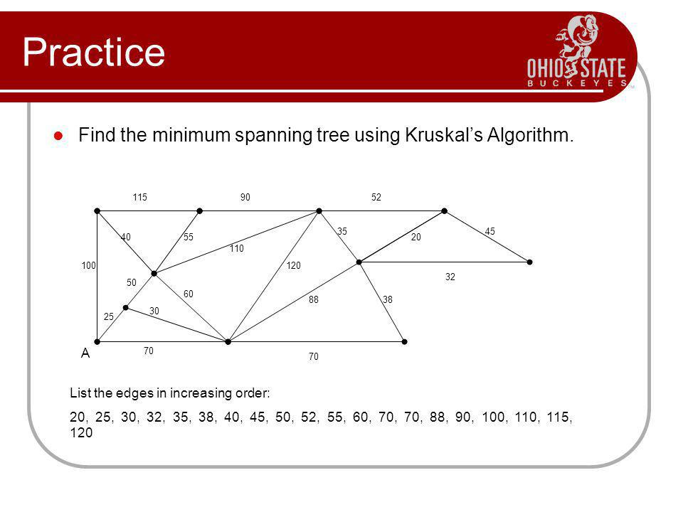 Practice Find the minimum spanning tree using Kruskals Algorithm. 1159052 55 32 20 38 70 88 35 120 110 60 30 70 40 45 100 50 25 A List the edges in in