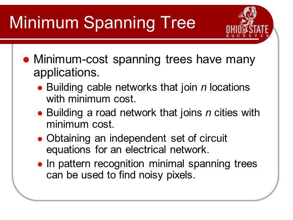 Minimum Spanning Tree Minimum-cost spanning trees have many applications.