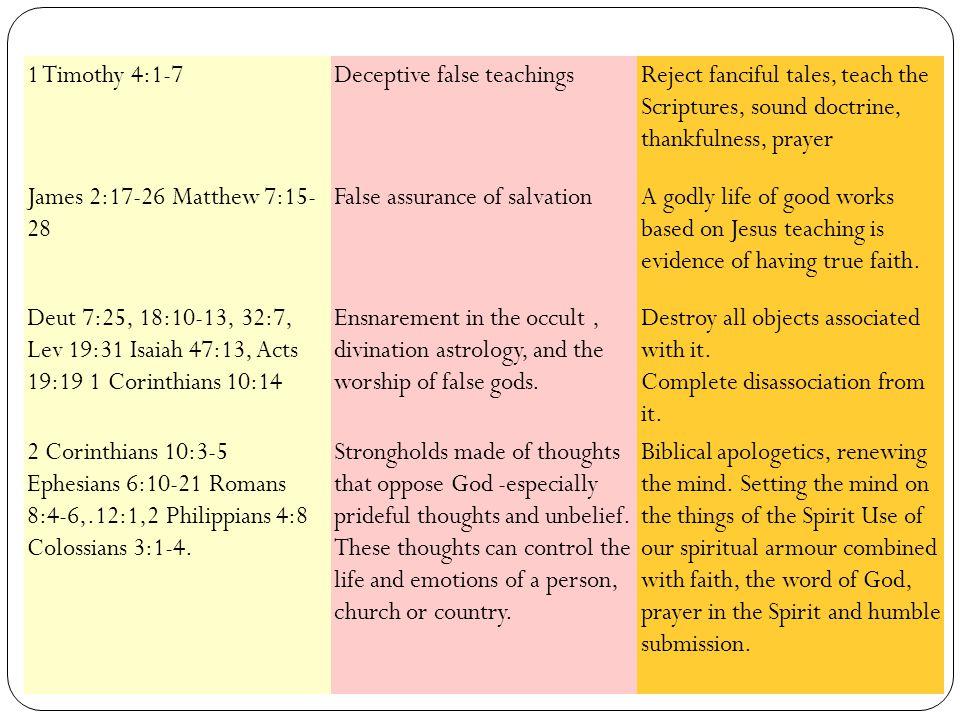1 Timothy 4:1-7Deceptive false teachingsReject fanciful tales, teach the Scriptures, sound doctrine, thankfulness, prayer James 2:17-26 Matthew 7:15-