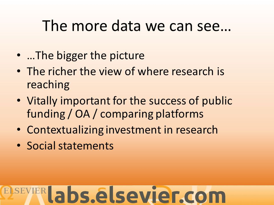The more data we can see… …The bigger the picture The richer the view of where research is reaching Vitally important for the success of public funding / OA / comparing platforms Contextualizing investment in research Social statements