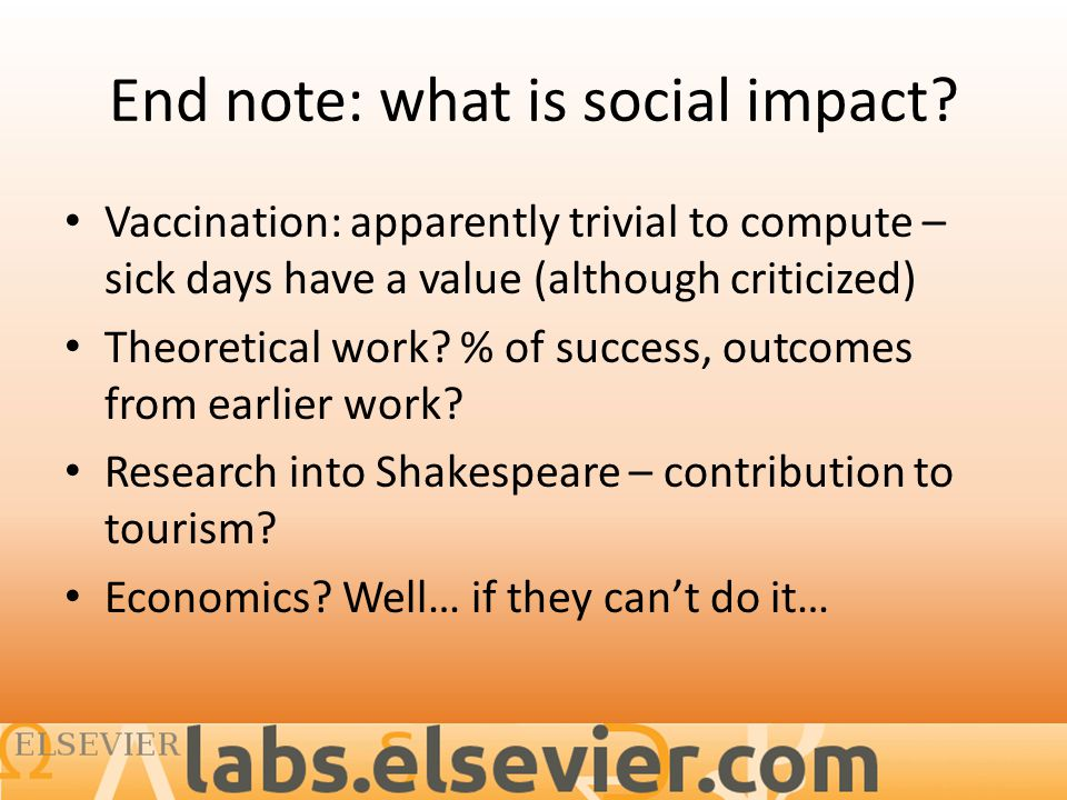 End note: what is social impact.