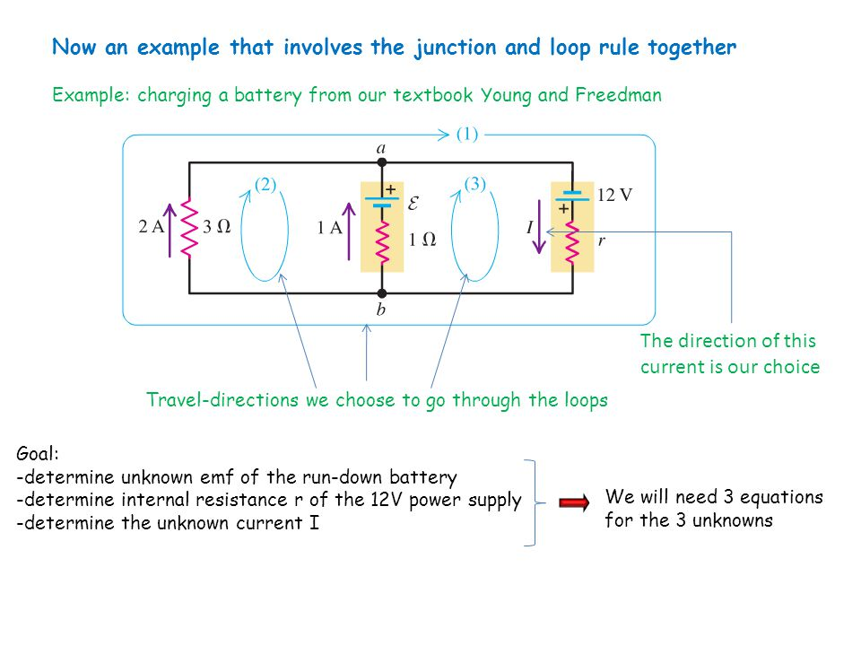 Now an example that involves the junction and loop rule together Example: charging a battery from our textbook Young and Freedman The direction of thi