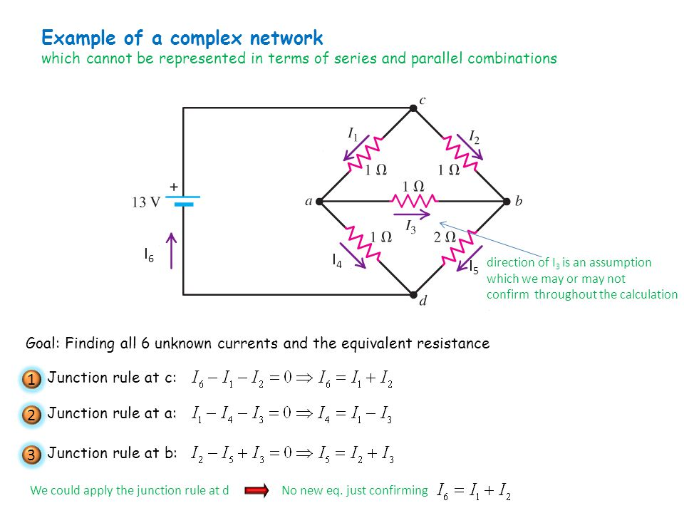 Example of a complex network which cannot be represented in terms of series and parallel combinations I4I4 I5I5 I6I6 direction of I 3 is an assumption