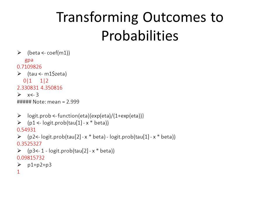 Transforming Outcomes to Probabilities (beta <- coef(m1)) gpa 0.7109826 (tau <- m1$zeta) 0|1 1|2 2.330831 4.350816 x<- 3 ##### Note: mean = 2.999 logit.prob <- function(eta){exp(eta)/(1+exp(eta))} (p1 <- logit.prob(tau[1] - x * beta)) 0.54931 (p2<- logit.prob(tau[2] - x * beta) - logit.prob(tau[1] - x * beta)) 0.3525327 (p3<- 1 - logit.prob(tau[2] - x * beta)) 0.09815732 p1+p2+p3 1