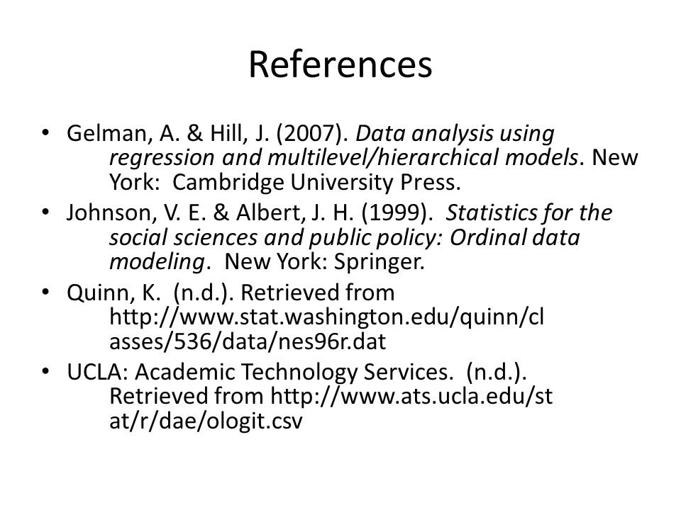 References Gelman, A. & Hill, J. (2007).