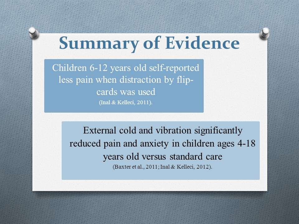 Summary of Evidence Children 6-12 years old self-reported less pain when distraction by flip- cards was used (Inal & Kelleci, 2011). External cold and