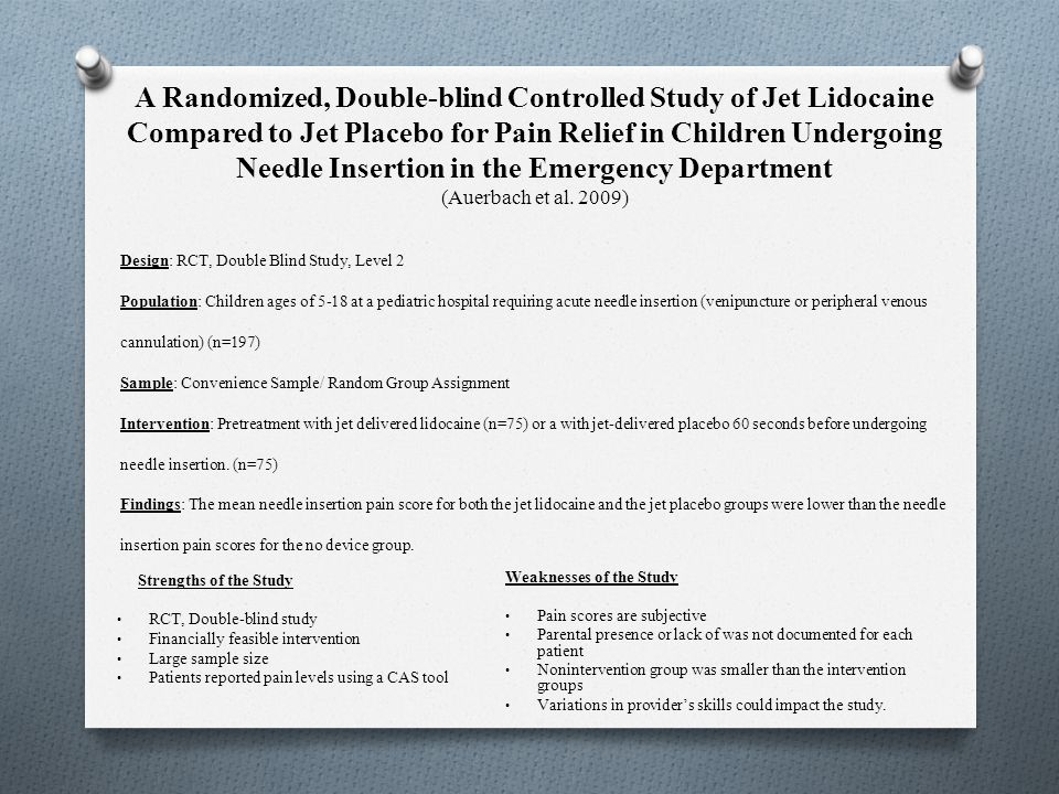 A Randomized, Double-blind Controlled Study of Jet Lidocaine Compared to Jet Placebo for Pain Relief in Children Undergoing Needle Insertion in the Em