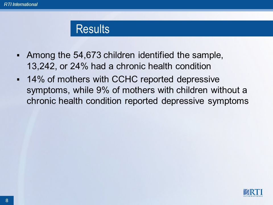 RTI International Results Among the 54,673 children identified the sample, 13,242, or 24% had a chronic health condition 14% of mothers with CCHC reported depressive symptoms, while 9% of mothers with children without a chronic health condition reported depressive symptoms 8