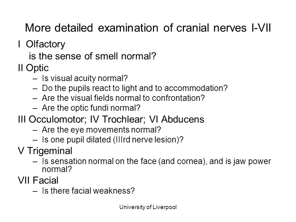 University of Liverpool More detailed examination of cranial nerves I-VII I Olfactory is the sense of smell normal? II Optic –Is visual acuity normal?