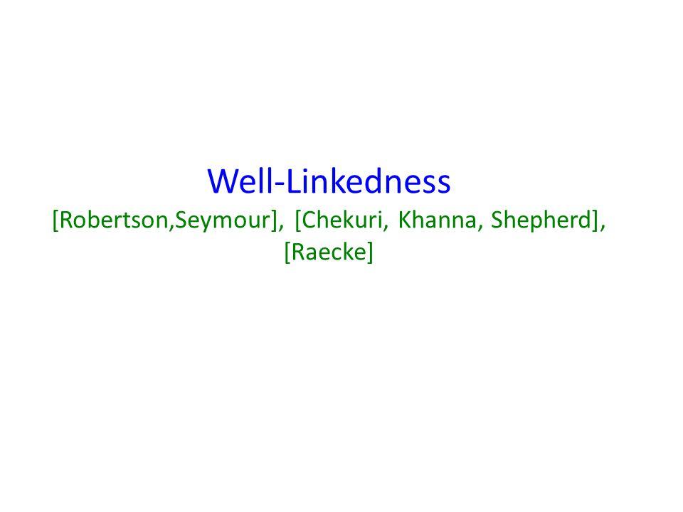 Well-Linkedness [Robertson,Seymour], [Chekuri, Khanna, Shepherd], [Raecke]