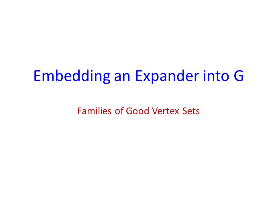 Families of Good Vertex Sets
