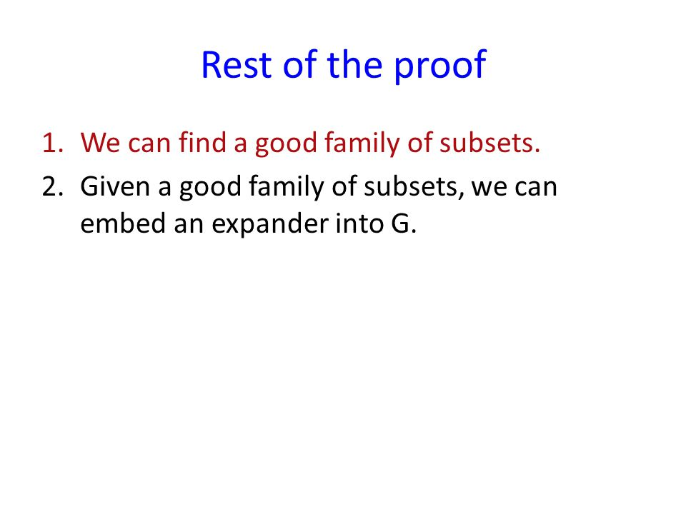 Rest of the proof 1.We can find a good family of subsets.