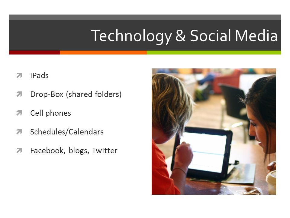 Technology & Social Media iPads Drop-Box (shared folders) Cell phones Schedules/Calendars Facebook, blogs, Twitter