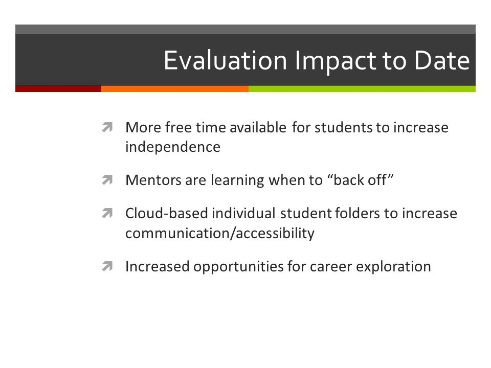 Evaluation Impact to Date More free time available for students to increase independence Mentors are learning when to back off Cloud-based individual
