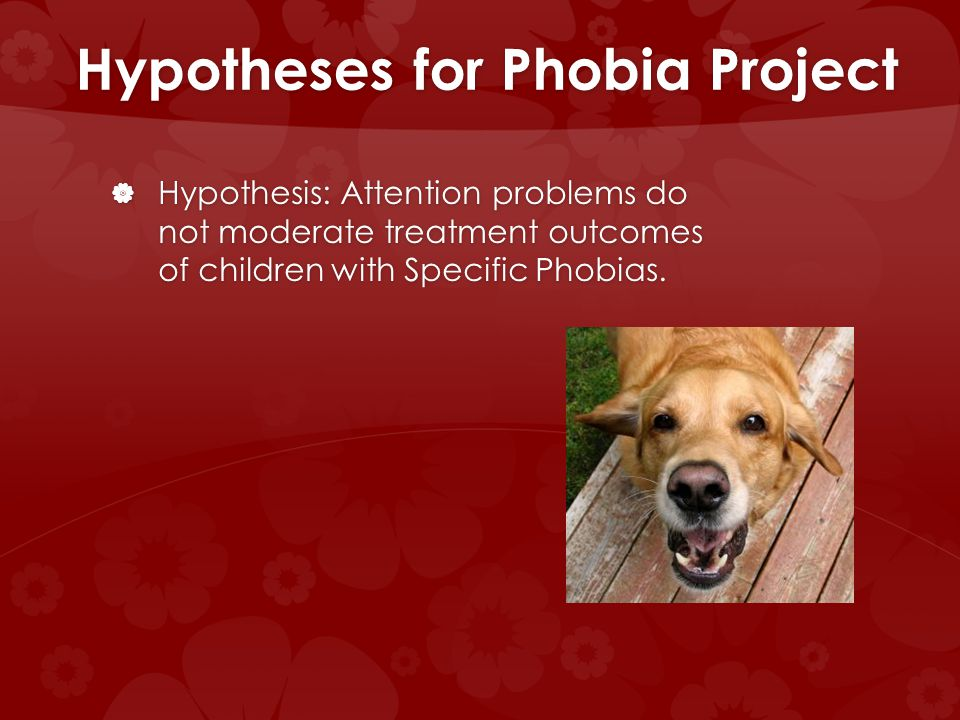 Hypotheses for Phobia Project Hypothesis: Attention problems do not moderate treatment outcomes of children with Specific Phobias. Hypothesis: Attenti