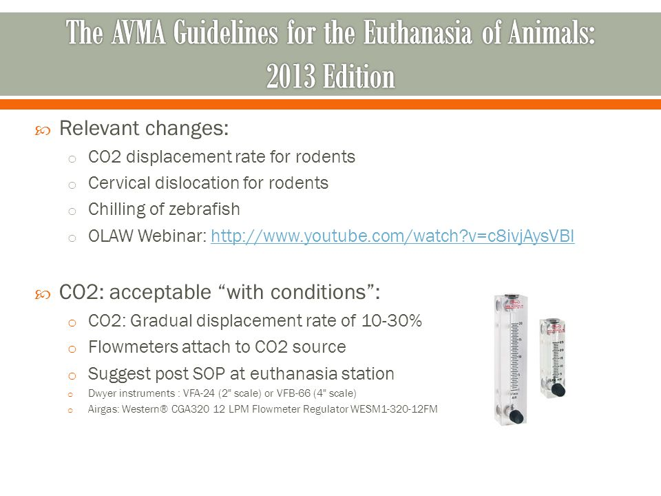 Relevant changes: o CO2 displacement rate for rodents o Cervical dislocation for rodents o Chilling of zebrafish o OLAW Webinar: http://www.youtube.co