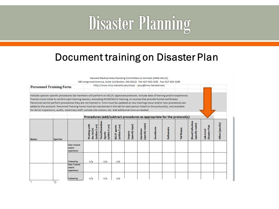 Document training on Disaster Plan