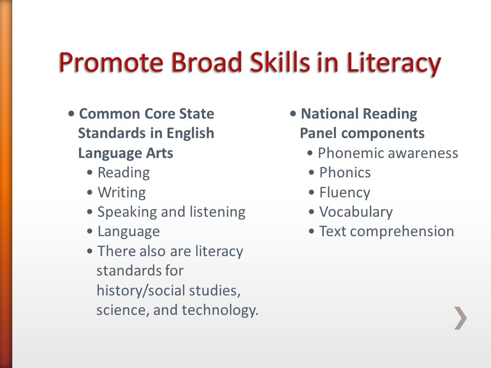 National Reading Panel components Phonemic awareness Phonics Fluency Vocabulary Text comprehension Common Core State Standards in English Language Arts Reading Writing Speaking and listening Language There also are literacy standards for history/social studies, science, and technology.