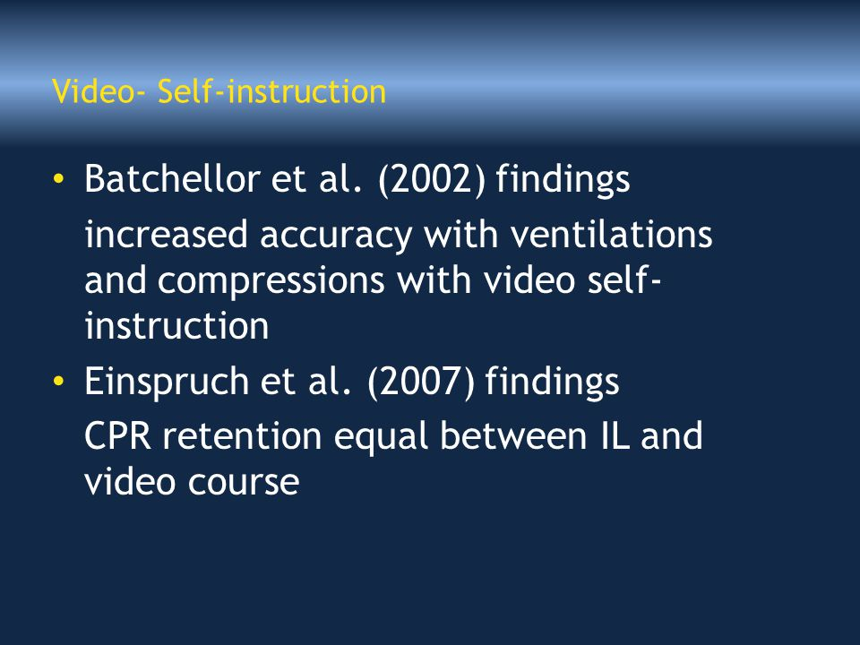 Video- Self-instruction Batchellor et al.