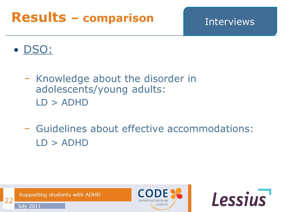 DSO: Knowledge about the disorder in adolescents/young adults: LD > ADHD Guidelines about effective accommodations: LD > ADHD Results – comparison July 2011 22 Supporting students with ADHD Interviews