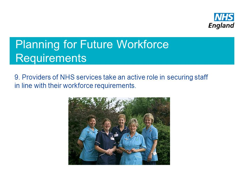 Planning for Future Workforce Requirements 9.