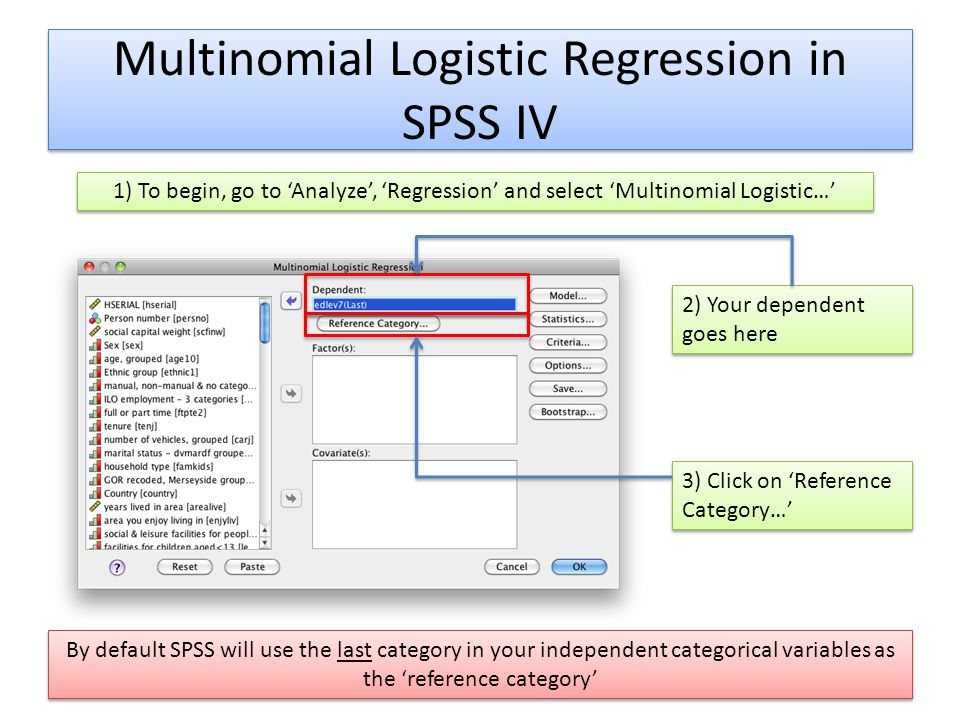 Multinomial Logistic Regression in SPSS IV 1) To begin, go to Analyze, Regression and select Multinomial Logistic… 2) Your dependent goes here 3) Clic