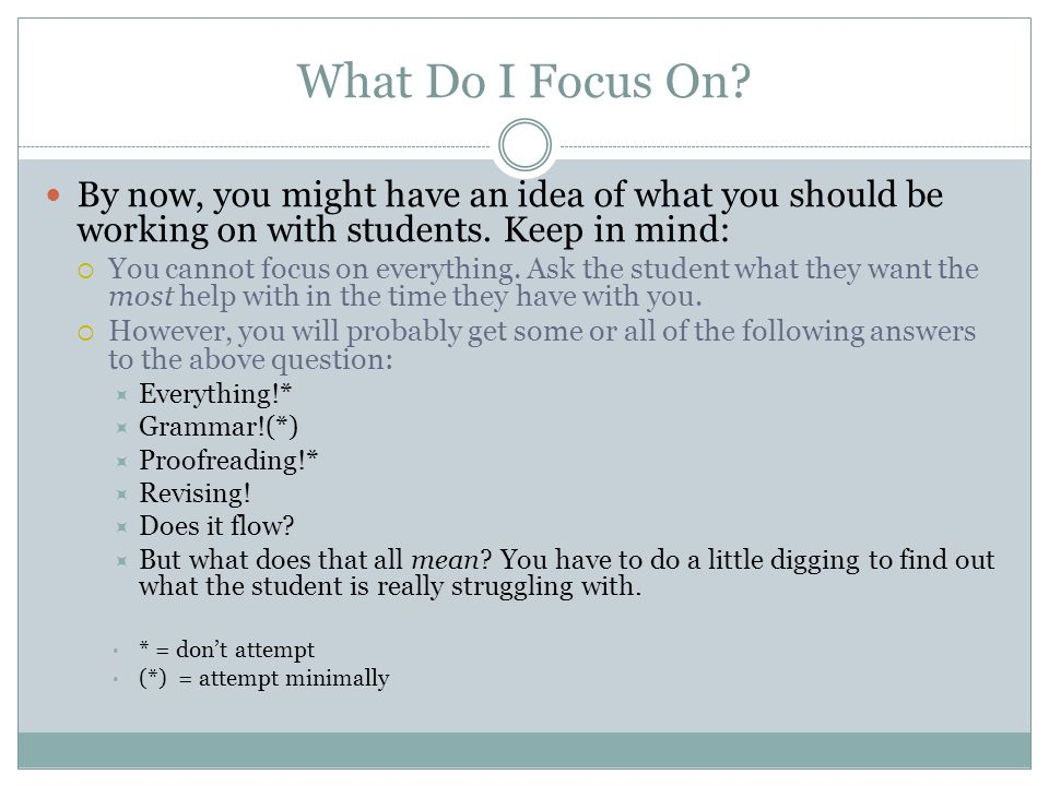 What Do I Focus On. By now, you might have an idea of what you should be working on with students.