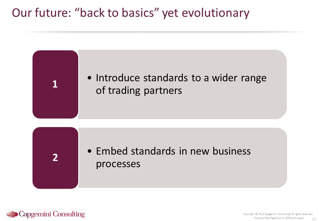 Copyright © 2012 Capgemini Consulting. All rights reserved. Our future: back to basics yet evolutionary 12 Future of Std Read Out v4 15Feb smw.pptx In