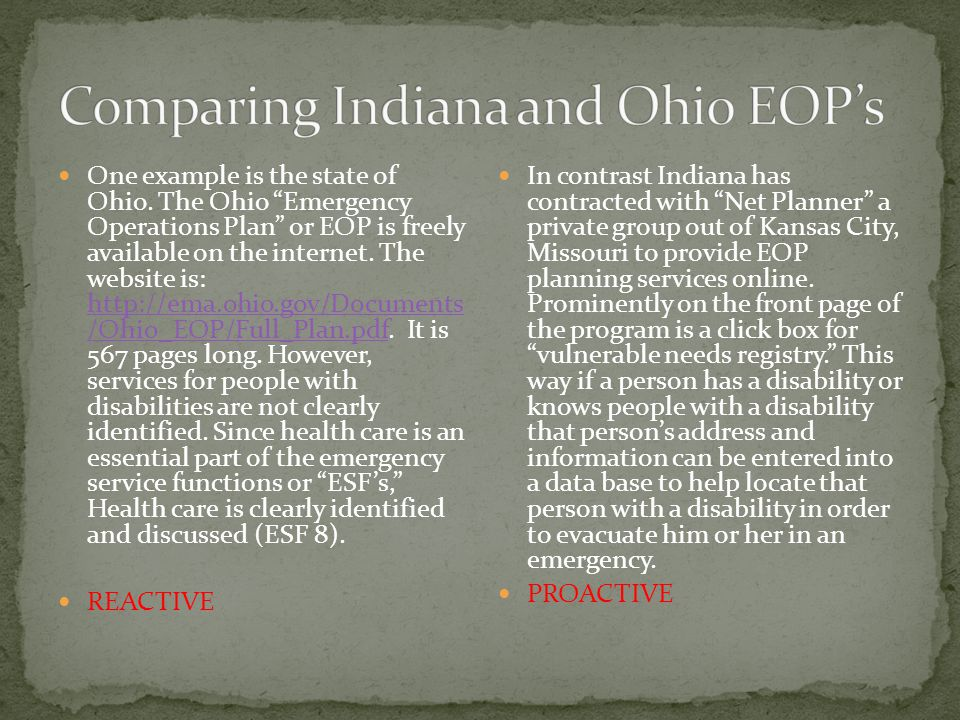 One example is the state of Ohio.