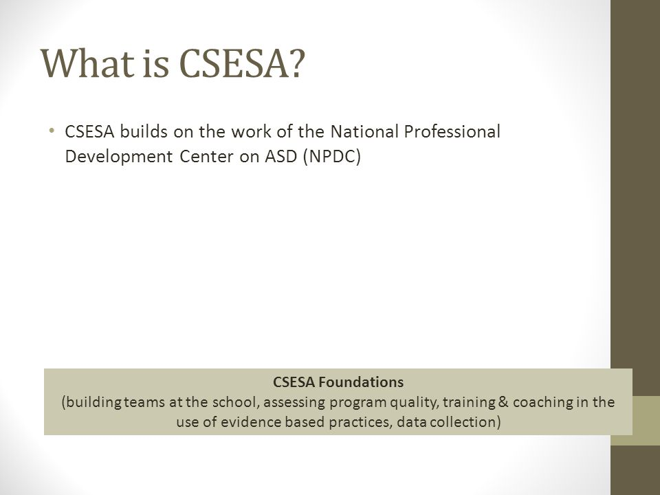 What is CSESA? CSESA builds on the work of the National Professional Development Center on ASD (NPDC) CSESA Foundations (building teams at the school,