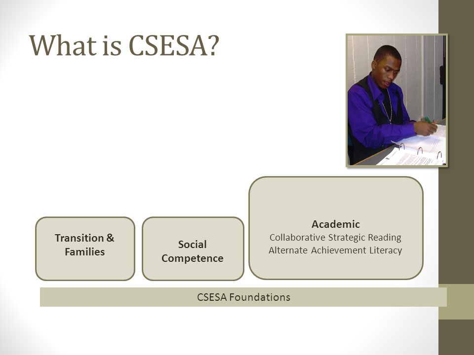 What is CSESA? Transition & Families Social Competence Academic Collaborative Strategic Reading Alternate Achievement Literacy CSESA Foundations