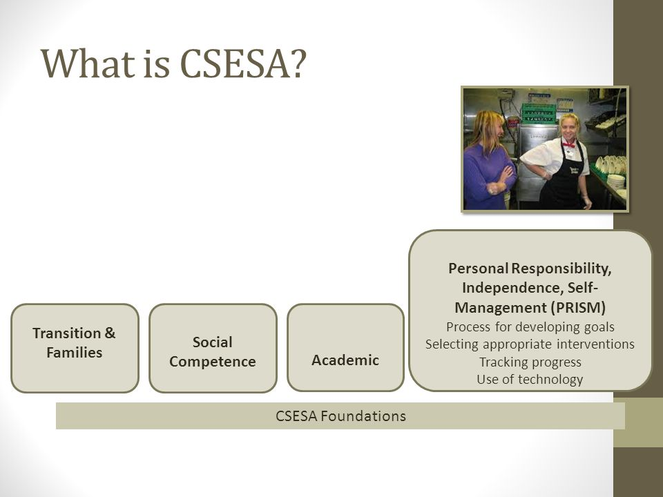 What is CSESA? Transition & Families Social Competence Academic Personal Responsibility, Independence, Self- Management (PRISM) Process for developing