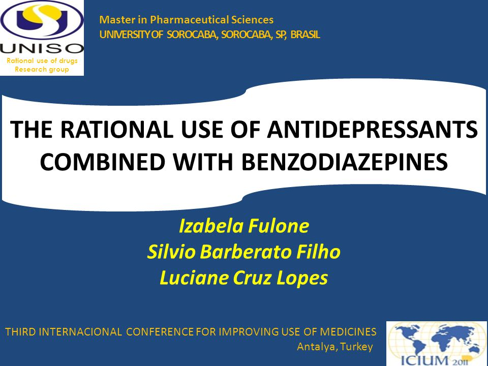 BACKGROUND Combining antidepressants and anxiolytics, mainly benzodiazepines (BDZ), is common practice in the treatment of major depression; Meta-analysis shows that combined therapy presents a higher rate of response to depressive symptoms and lower dropout rate ONLY up to the fourth week.