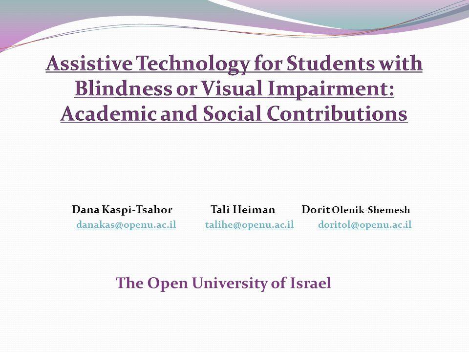 Dana Kaspi-Tsahor Tali Heiman Dorit Olenik-Shemesh danakas@openu.ac.il talihe@openu.ac.il doritol@openu.ac.ildanakas@openu.ac.iltalihe@openu.ac.ildoritol@openu.ac.il The Open University of Israel