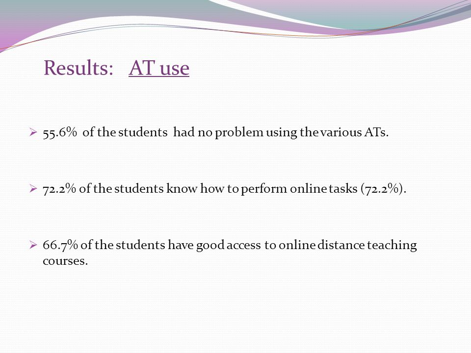 Results: AT use 55.6% of the students had no problem using the various ATs. 72.2% of the students know how to perform online tasks (72.2%). 66.7% of t