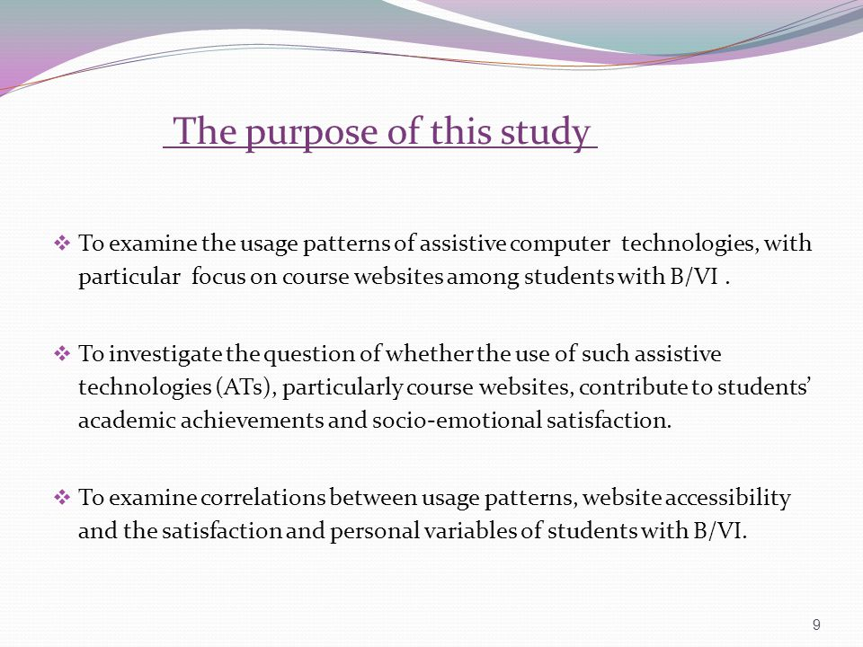 The purpose of this study To examine the usage patterns of assistive computer technologies, with particular focus on course websites among students wi