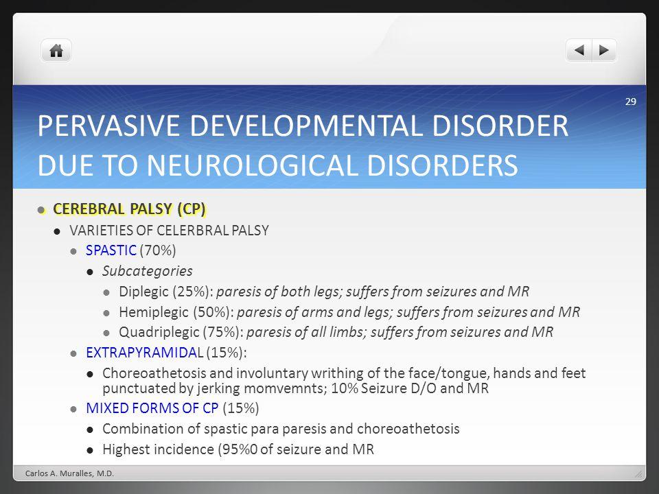 29 PERVASIVE DEVELOPMENTAL DISORDER DUE TO NEUROLOGICAL DISORDERS CEREBRAL PALSY (CP) CEREBRAL PALSY (CP) VARIETIES OF CELERBRAL PALSY SPASTIC (70%) S