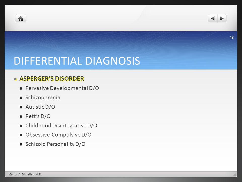 48 DIFFERENTIAL DIAGNOSIS ASPERGERS DISORDER ASPERGERS DISORDER Pervasive Developmental D/O Schizophrenia Autistic D/O Retts D/O Childhood Disintegrat