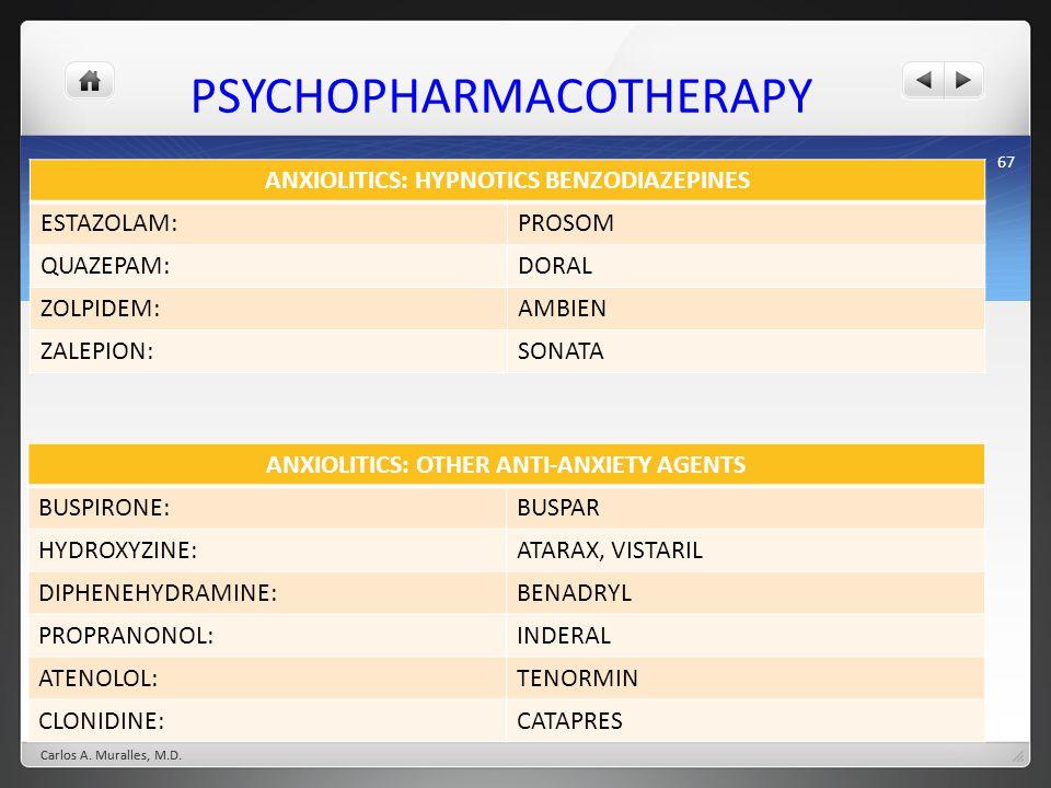 67 PSYCHOPHARMACOTHERAPY ANXIOLITICS: HYPNOTICS BENZODIAZEPINES ESTAZOLAM:PROSOM QUAZEPAM:DORAL ZOLPIDEM:AMBIEN ZALEPION:SONATA Carlos A. Muralles, M.
