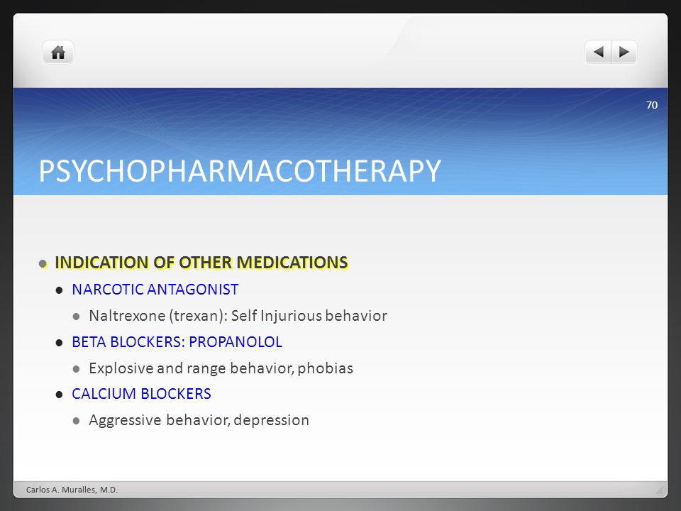 70 PSYCHOPHARMACOTHERAPY INDICATION OF OTHER MEDICATIONS INDICATION OF OTHER MEDICATIONS NARCOTIC ANTAGONIST Naltrexone (trexan): Self Injurious behav