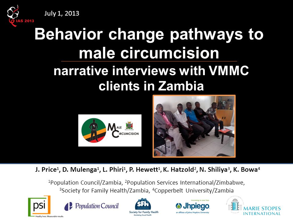 Behavior change pathways to male circumcision narrative interviews with VMMC clients in Zambia J.