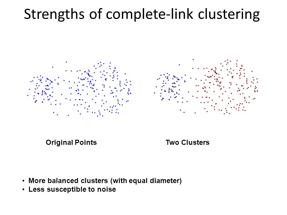 Strengths of complete-link clustering Original Points Two Clusters More balanced clusters (with equal diameter) Less susceptible to noise