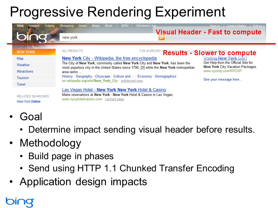 Progressive Rendering Experiment Goal Determine impact sending visual header before results. Methodology Build page in phases Send using HTTP 1.1 Chun